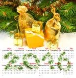 Calendário 2016 imagem de decorações do Natal Imagens de Stock Royalty Free