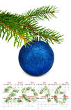 calendário 2016 imagem isolada do close up da bola do Natal Fotografia de Stock