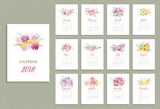 Calendário 2018 imprimível com as flores consideravelmente coloridas Imagens de Stock Royalty Free