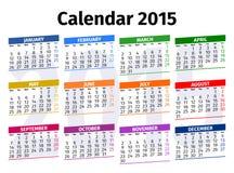 Calendário inglês 2015 Imagens de Stock
