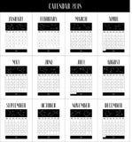 Calendário inglês 2018, calendário de 12 meses com constelações Fotografia de Stock Royalty Free