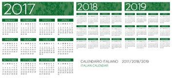 Calendário italiano 2017-2018-2019 Ilustração Stock