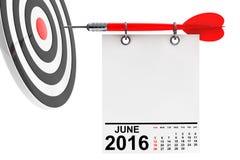 Calendário junho de 2016 com alvo rendição 3d Fotografia de Stock Royalty Free