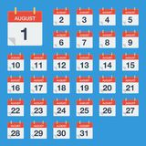 Calendário liso August Icon Calendário na parede Ilustração do vetor Imagem de Stock