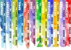 Calendário listrado colorido aquarela 2016 Foto de Stock Royalty Free