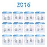 Calendário lustroso azul para 2016 no espanhol ilustração stock