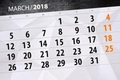 Calendário mês março de 2018 de papel Fotografia de Stock Royalty Free