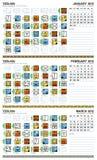 Calendário maia, Janeiro-Março 2012 (europeu) ilustração stock