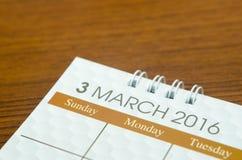 Calendário março de 2016 Imagem de Stock