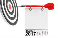 Calendário março de 2017 com alvo rendição 3d Imagens de Stock Royalty Free