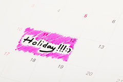 Calendário marcado como o feriado fotografia de stock