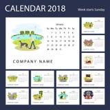 Calendário mensal 2018 imagem de stock
