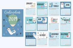 Calendário mensal bonito 2019 com lama, bagagem, cacto, geométrico fotos de stock