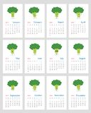Calendário mensal bonito 2019 dos brócolis ilustração royalty free