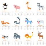 Calendário mensal 2018 com animais bonitos Fotografia de Stock