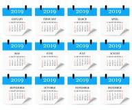 Calendário mensal 2019 com onda da página Calendário do rasgo-fora Fundo branco Ilustração do vetor ilustração stock