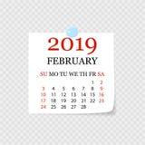 Calendário mensal 2019 com onda da página Calendário do rasgo-fora para fevereiro Fundo branco Ilustração do vetor ilustração stock