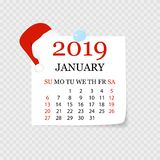 Calendário mensal 2019 com onda da página Calendário do rasgo-fora para janeiro Fundo branco Ilustração do vetor ilustração do vetor