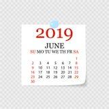 Calendário mensal 2019 com onda da página Calendário do rasgo-fora para junho Fundo branco Ilustração do vetor ilustração royalty free