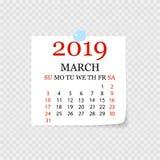 Calendário mensal 2019 com onda da página Calendário do rasgo-fora para março Fundo branco Ilustração do vetor ilustração royalty free