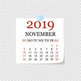 Calendário mensal 2019 com onda da página Calendário do rasgo-fora para novembro Fundo branco Ilustração do vetor ilustração royalty free