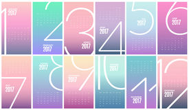 Calendário mensal 2017 da parede Molde do vetor ilustração royalty free