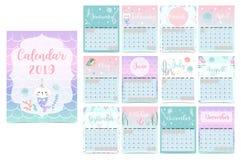 Calendário mensal 2019 do arco-íris bonito com sereia, caticorn, calamar, c fotografia de stock royalty free