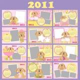 Calendário mensal do bebê para 2011 ilustração do vetor