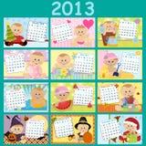 Calendário mensal do bebê para 2013 ilustração royalty free