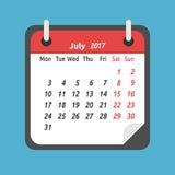 Calendário mensal, em julho de 2017 Imagem de Stock