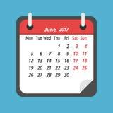 Calendário mensal, em junho de 2017 Imagem de Stock