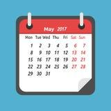 Calendário mensal, em maio de 2017 Imagens de Stock Royalty Free
