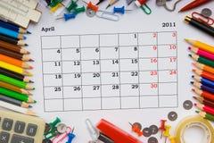 Calendário mensal para 2011 Fotografia de Stock