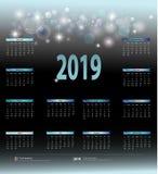 Calendário mensal pelo ano 2019 para o calendário de parede, estilo restrito do negócio ilustração stock