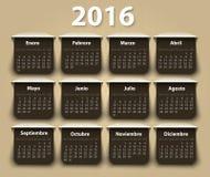 Calendário molde do projeto de um vetor de 2016 anos dentro Fotografia de Stock