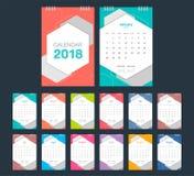 calendário 2018 Molde do projeto moderno de calendário de mesa Foto de Stock
