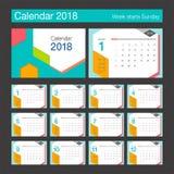 calendário 2018 Molde do projeto moderno de calendário de mesa Fotos de Stock Royalty Free