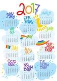 2017 calendário - molde do vetor da ilustração da cor Imagem de Stock