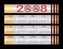 Calendário não fumadores do sinal 2008 ilustração stock