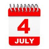 Calendário no fundo branco 4 de julho Fotografia de Stock