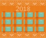 Calendário 2018 no fundo retro do Natal Molde do vetor Fotos de Stock