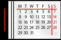 Calendário no mês Imagem de Stock Royalty Free
