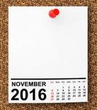 Calendário novembro de 2016 rendição 3d Imagens de Stock