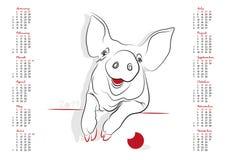 Calendário 2019 o ano do porco Imagem de Stock Royalty Free