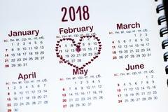 Calendário o 14 de fevereiro Fotos de Stock Royalty Free