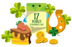 Calendário o 17 de março Dia de s de StPatrick ' Ferradura dourada, bolo Fotografia de Stock Royalty Free