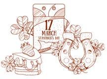 Calendário o 17 de março Dia de s de StPatrick ' Ferradura dourada, bolo Foto de Stock Royalty Free
