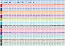Calendário 2018, organizador e programação do planejador com dias do feriado afixados para dentro Foto de Stock
