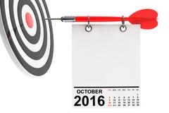 Calendário outubro de 2016 com alvo rendição 3d Imagens de Stock