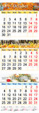 Calendário outubro novembro e dezembro de 2017 com imagens coloridas Imagem de Stock